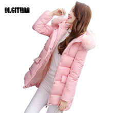 2016 Ladies down jacket winter coat New  in the long section  women feather padded jacket for female Plus size
