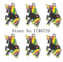 Hot Sale 10pcs Balck Unicorn Metal Charms DIY Jewelry Making  Mobile Phone Accessories For Best Gift D-140