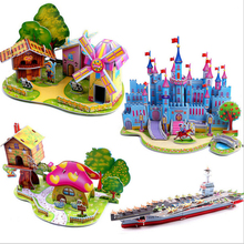 1 set Cute 3D DIY Puzzle Houses Puzzle Jigsaw Baby toy Kid Early learning Castle Construction pattern gift