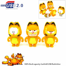 Cute Cartoon Garfield USB flash drive 4gb 8gb16gb 32gb U stick real capacity Pendrives the best Gift three style cat pen drive(China)