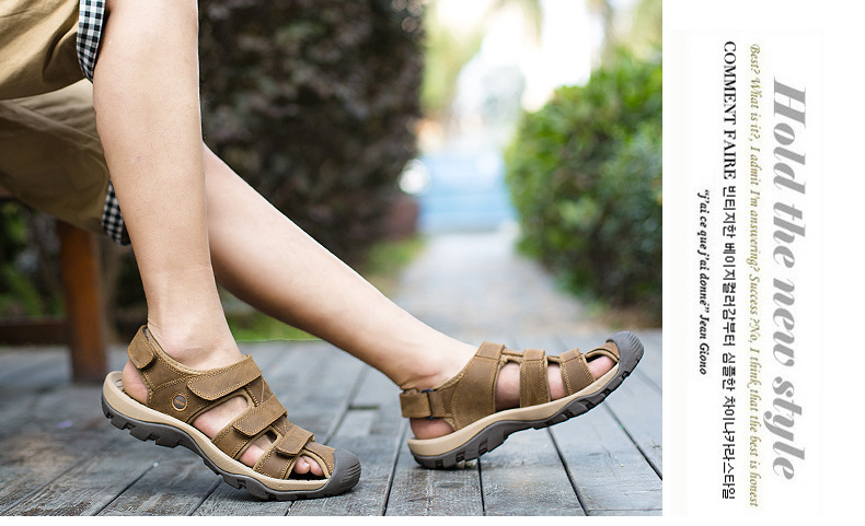 Summer Man Sandals Beach Shoes 2018 High Quality Genuine Leather Prevent Slippery Wear-resisting Outdoor Sandals Large Size 46 18 Online shopping Bangladesh