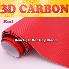 High Quality Red Carbon Fiber Vinyl Film Roll Red 3D Carbon Fiber Film Air Free Bubble For Car Wrapping Size:1.52*30m/Roll(China)