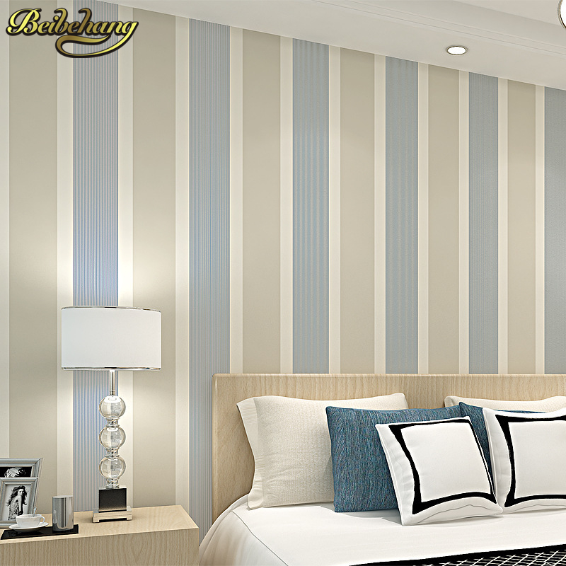 beibehang Modern fashion Luxury Vertical stripes Glitter Non-woven wall paper Roll Home Decoration silver Coffee Grey Golden<br>