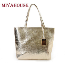 Miyahouse Brand Women Shoulder Bags Silver Gold Crocodile Handbag PU Leather Alligator Pattern Tote Bag Female Big Tote Bag Lady