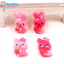 Newest 50pcs 15*17mm Cartoon Animal Rabbit Character Image Resin Cabochon Craft for DIY Jewelry Phone Decoration Girls Hairband