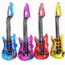 5pcs/lot 80x30cm hot cartoon guitar balloons inflatable air globos party supplies kids toys birthday ballon classic toy(China)