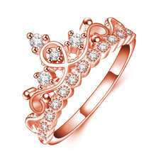 Romantic Rose  Fashion Rings For Women Girl Princess Queen Crown Shape Rhinestone Zircon Ring Jewelry Gift Free Ship