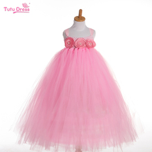 TUTUDRESS 2017 Flowers Baby Girl Tutu Dress Birthday Party Children Dress Handmade Princess Dress
