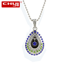 CHYI Jewellery Angel's Eye USB Flash Drive Pen Drive Beautiful Water Drop Necklace Memory Stick 4/8/16/32/64GB Pendrive For Gift(China)