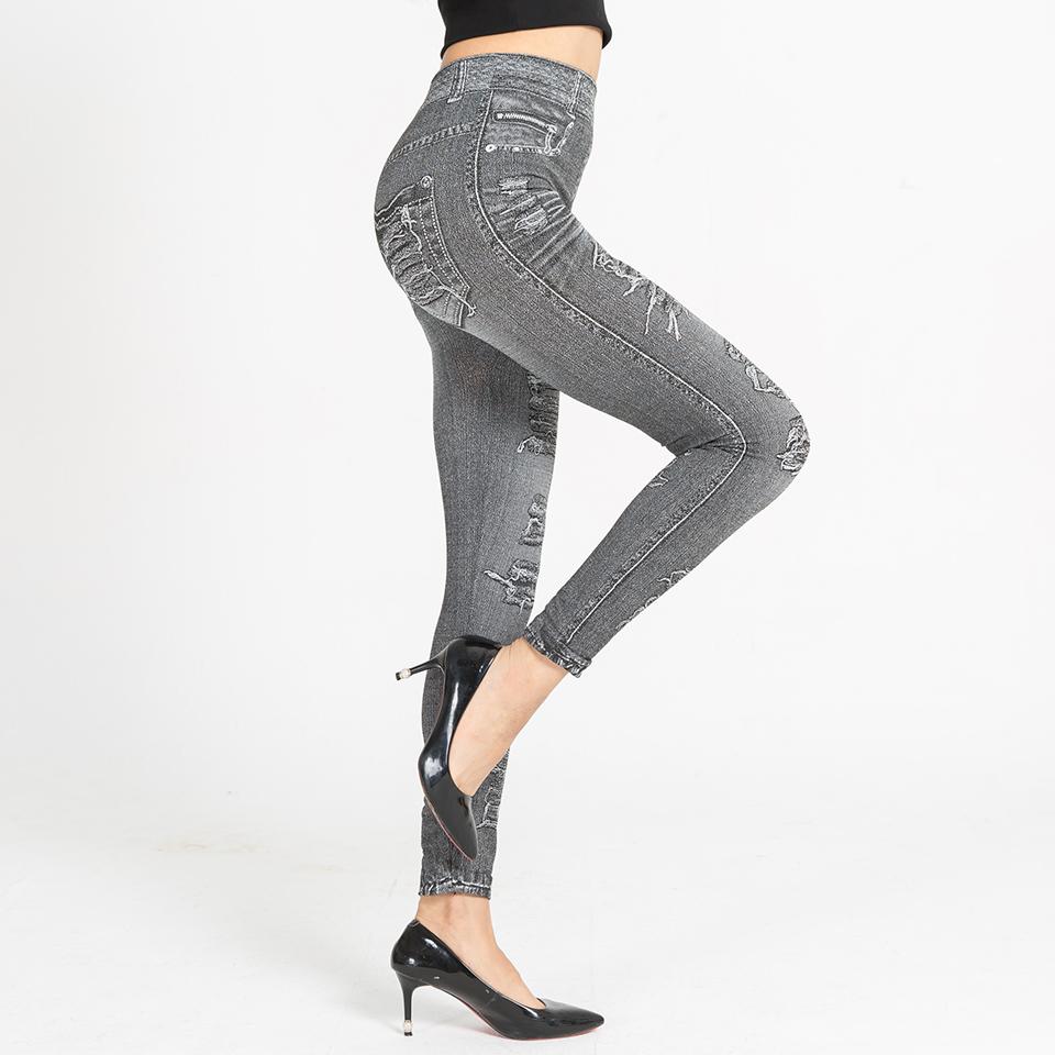 Autumn Women's Print Leggings, Mock Pocket, Hole Jeans Leggings 12