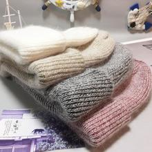 Fashion Angora Rabbit Knitted Skullies Beanies Cashmere Beanies Thick Warm Vogue Ladies Wool Hat Female Warm Beanie Hats(China)