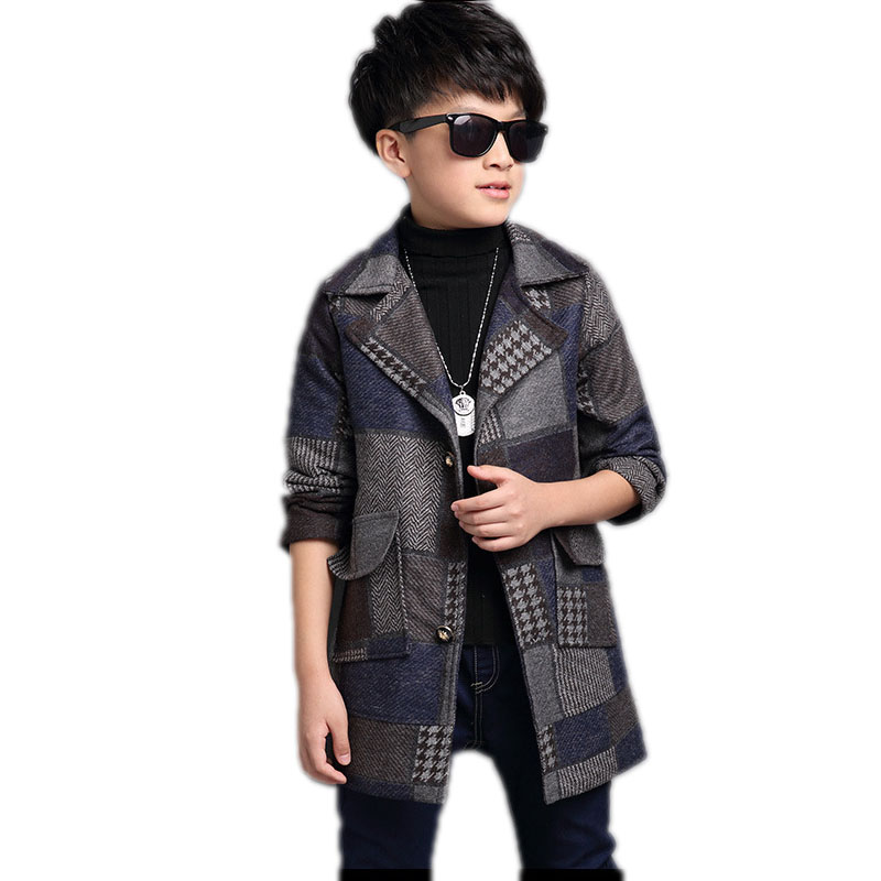 2017 children clothing winter boy woolen coat warm cotton padded teenager boy jackets bouble breasted thicken plaid kids outwear<br>