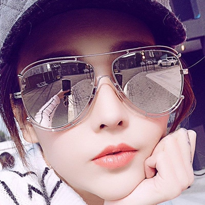 Luxury Pilot Women Sunglasses Fashion Brand Designer Flat Top Metal Frame Mirror Sun Bomber Glasses Female High Quality UV400<br><br>Aliexpress