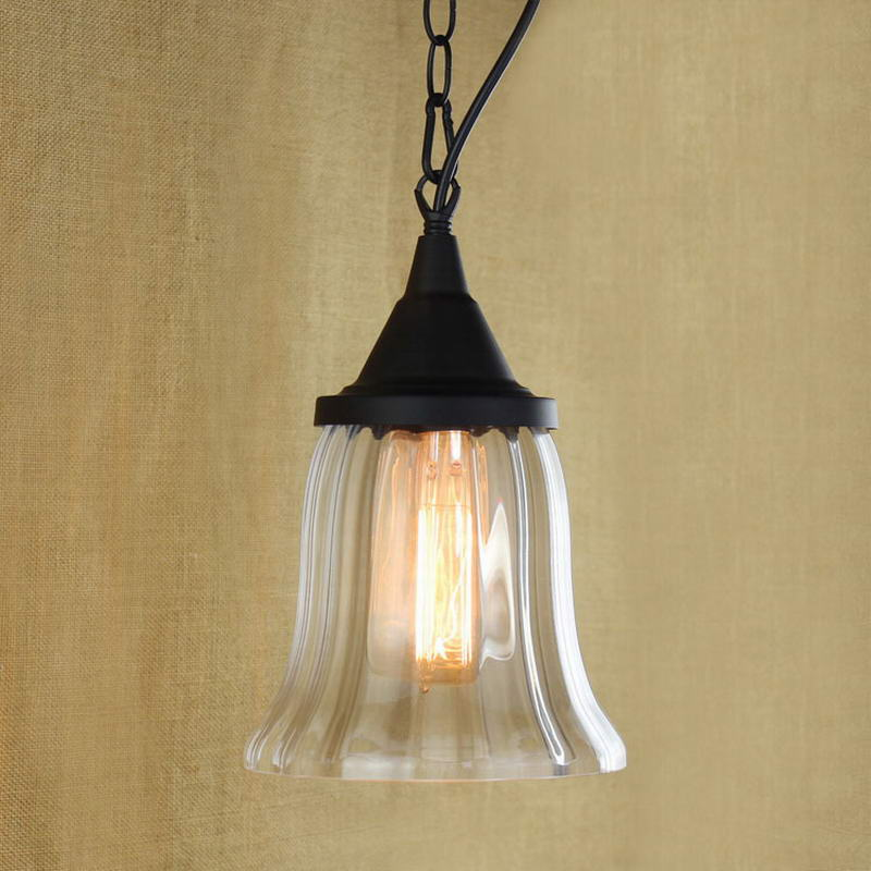 Recycled retro Nostalgic Hanging clear glass cup Pendant Lamp with Edison Light bulb|Kitchen Lights and Cabinet Lighting<br>
