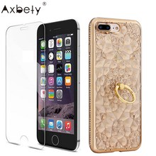 Axbety Luxury Golden Glitter 3D Case For iPhone 7 8 Case Diamond Bling Ring Stand Soft Back Cover For iPhone 7 8 Plus Cases(China)