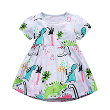 Baby Girls Summer Dress Jersey Robe Fille Enfant 100% Cotton Dresses for Kids Costumes Princess Dress Printed Children Clothes