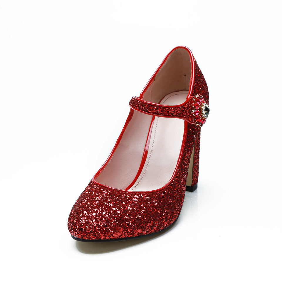 Fashion-sequined-cloth-women-pumps-genuine-leather-classic-round-toe-one-belt-strap-chunky-high-heels (3)