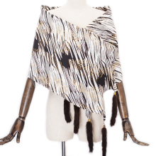 Women Faux Silk Scarf Rayon Shawl Real Mink Fur Leopard Tassels 5 colors