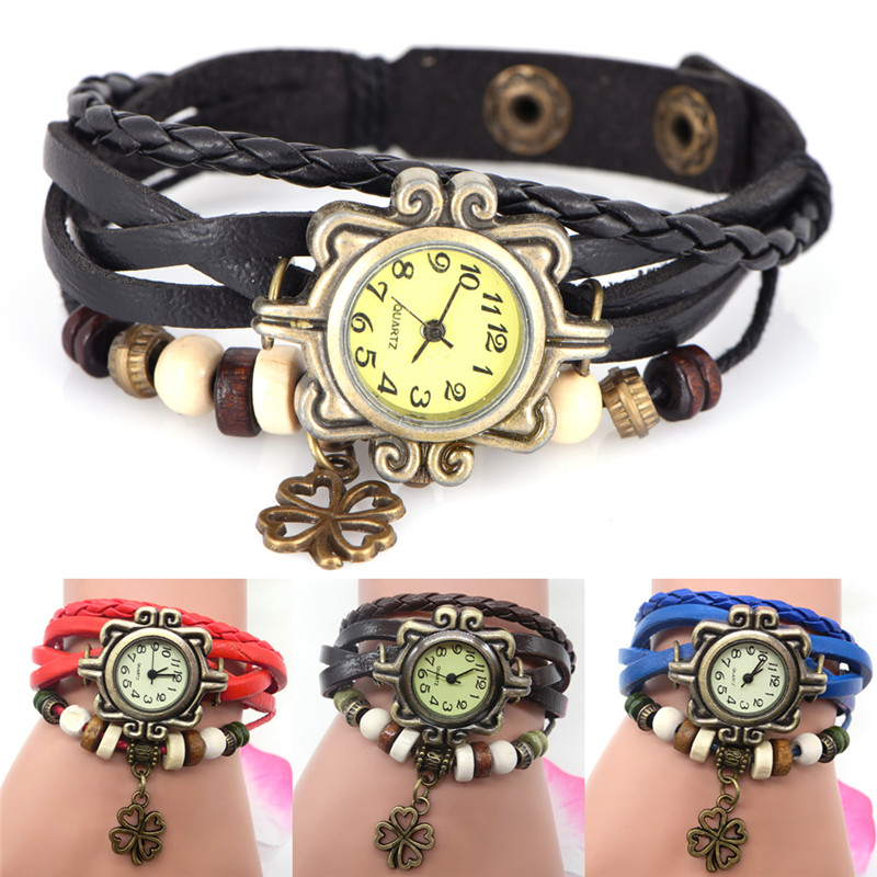 2018 Vintage Clover Pendant Beads Watch Bracelets For Women Summer Jewelry Ladies Accessories Gifts High Quality