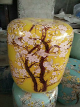 Villa household ceramic drum stool yellow