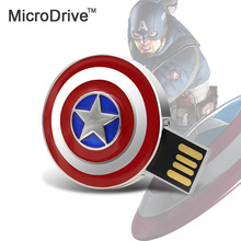 Metal Hero Captain America USB Flash Drive 32GB 16GB 8GB Memory Pen/Thumb Drive 64GB Cartoon pen drive(China)