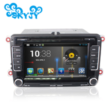 "7"" Android 6.0.1 2 Din Car DVD Player GPS for VW Scirocco Golf Caddy Altea Exeo with Retail Package Free 8G Gps Card and Canbus(China)"