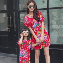 Floral design Chinese Vintage design family look dress for mother and daughter cause dress Family Matching Outfits Red and Green