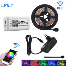 LPILY 5050 RGB LED Strip Light 4M 5M SMD non waterproof IP20 Diode Tape LED tape with WIFI controller for decoration full set(China)