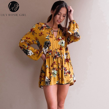 Lily Rosie Girl Boho Floral Print Fashion Women Blouse Full Sleeve Summer Holiday Beach Long Shirts V-neck Casual Tops