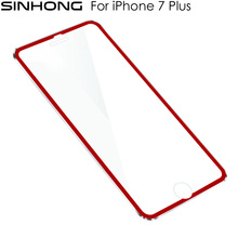 SINHONG Red 3D Full Coverage Tempered Glass Protection Film For iPhone 7 Plus 7Plus 5.5 Glass Screen Protector Alloy Metal Frame(China)