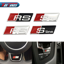 1PCS Car Styling RS Sline S line Steering Wheel Car Sticker 3D Aluminium Alloy Steering Wheel Badge Emblem Audi VW