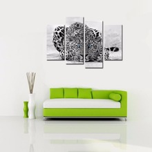 4 Pieces Abstract Blue Eyed Leopard Painting Black White Wall Art Animal Picture Prints On Canvas Wooden Framed For Home Decor(China)