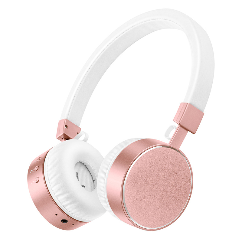 Stereo Bluetooth Headphones with Mic Rose Gold Wireless Headsets for xiaomi redmi 4 pro for TV PC Mp3 Player Girls Earphones<br>