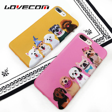 LOVECOM For iPhone 7 6 6S Plus Couple Case Cartoon Dogs Cute Animal Pink & Yellow Soft IMD Mobile Phone Cover Cases Coque Shell(China)