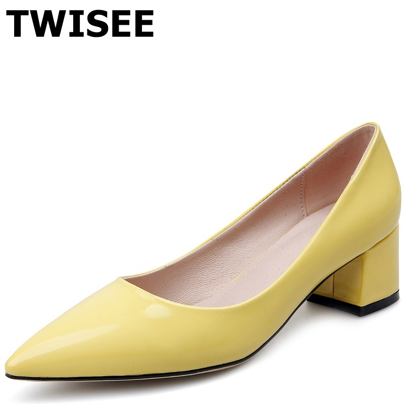 black yellow Pointed Toe spring pumps Patent pu leather sapatos femininos high heels shoes woman Square heels 6.5 cm shoes<br><br>Aliexpress