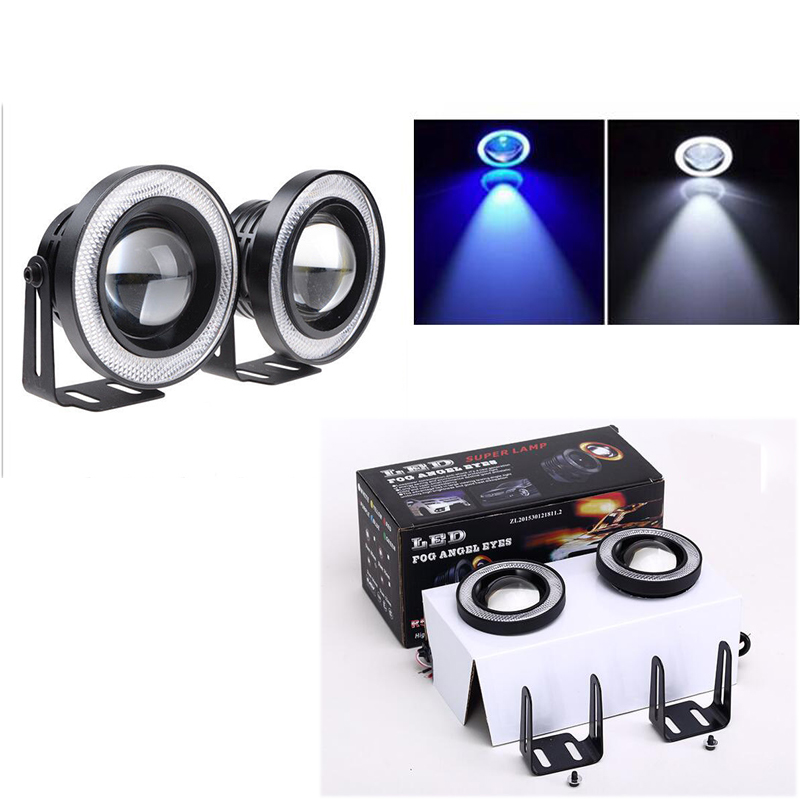 4x 2 pairs 12V 100W 64mm 2.5Inch Projector Universal Super Bright Car LED COB Fog Angel Eyes DRL Light HeadLight Lamp White Blue<br><br>Aliexpress