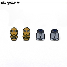 P1196 Dongmanli hot sale Women earrings Cartoon Star Wars robot R2D2 and C-3PO cute Earrings Gifts kids Fans gift Dropshipping(China)