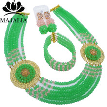 Majalia Romantic Nigeria Wedding African Beads Jewelry Set Mint green and Peach Crystal Necklace Bridal Jewelry Sets 6OP012(China)
