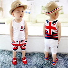 Boys Clothes Kids Baby Boys Union Jack Outfits Vest Tops Pants Set Clothesed T-shirt And Pants Suits Baby Clothes J1207(China)