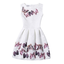 Flower Girls Dress Summer 2016 Casual Sleeveless Vintage Dresses Butterfly Floral Print Party Frocks Teenager 11-20 Years GD28