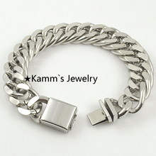 Punk 1.6Width Stainless Steel Mens Bike Chain Bracelet Jewelry 2016, Heavy Cool, For Biker, Gift, Wholesale Free shipping,KB424