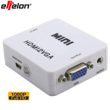 Effelon HD 1080P MINI HDMI to VGA Converter With Audio HDMI2VGA Video Box Adapter For Xbox360 PC DVD PS3(China)