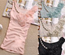 Warehouse Clearance Hot Sale!!! Factory direct 8 colors Fashion lady's high quality beaded tank top with lace - T007(China)