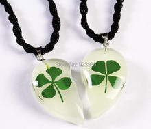 FREE SHIPPING 12 pair  Real green shamrock four leaf clover glow heart design pendant