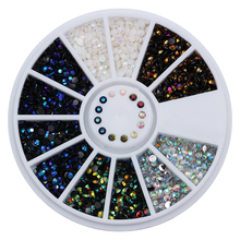 1 Box 2mm AB Crystal Nail Rhinestones Round Flat Bottom 3D Decoration In Wheel Manicure Nail Art Studs 5 Colors