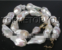 1512 CRAZY Luster natural white Reborn Keshi pearls necklace(China)