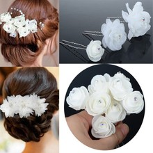 6Pcs Wholesale White Lace silky flower crystals Bridal Wedding Headpiece Hair Clip Pins