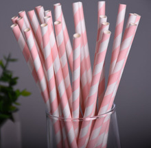25pcs/lot Pink Striped Paper Drinking Straws Creative Chevron Drinking Straw Wedding Decorations Birthday Bar/Pub Party Prom(China)