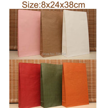 50PCS 8x24x38cm Stand up Colorful kraft Paper Bags,Large gift paper bag,party Treat Bag paper bag for toy clothes candy