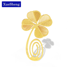10 PCS New Four-leaf Clover Reading Metal Clip Bookmark Gift Book Mark for Kids(China)